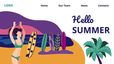 Hello Summer Horizontal Banner, Young Sexy Woman in Bikini Dancing with Hands Up on Summertime Beach Surfers Party, Girl Enjoying Vacation, Seaside Sundown Landscape. Cartoon Flat Vector Illustration 写真素材 - 128020937