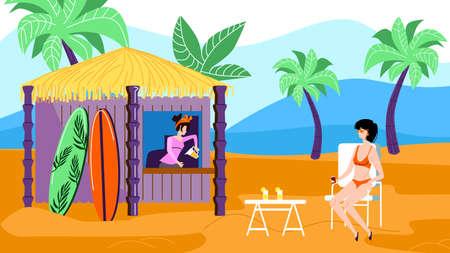 Junge entspannte Frau im Bikini sitzt am Tisch im Café im Freien am exotischen Strand mit Bungalow-Kiosk für kalte Getränke, Surfbretter mieten, Palmen und Meerblick. Flache Vektorillustration der Karikatur Vektorgrafik