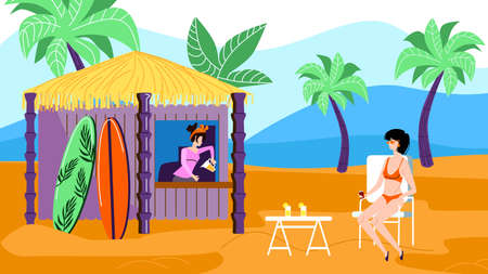 Young Relaxed Woman in Bikini Sitting at Table in Outdoors Cafe on Exotic Beach with Bungalow Kiosk for Cold Beverages, Surfing Boards Rent, Palm Trees and Seascape. Cartoon Flat Vector Illustration Иллюстрация