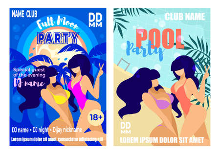 Full Moon and Pool Party Vertical Banners Set, Advertising Poster for Resort or Night Club Event for Adults with Couple of Sexy Girls in Bikini and Palms Background. Cartoon Flat Vector Illustration Banque d'images - 128020987