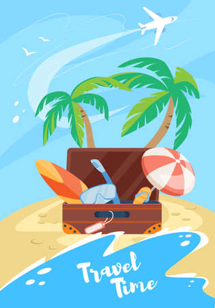 Travel Time Vertical Banner, Suitcase with Traveling Attributes as Mask, Umbrella, Surfing Board, Flip Flops on Seaside Background with Airplane, Summertime Vacation. Cartoon Flat Vector Illustration Vektorgrafik