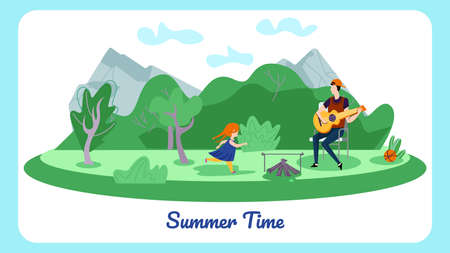 Happy Family of Father and Little Daughter Spend Time in Summer Camp, Man Playing Guitar near Campfire, Girl Play Ball. Summertime Vacation, Leisure, Horizontal Banner Cartoon Flat Vector Illustration