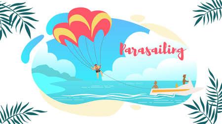 Parasailing Horizontal Banner, Man Under Parachute Hanging Mid Air. Having Fun in Tropical Paradise. Positive Human Emotions, Feelings, Summer Travel, Vacation. Cartoon Flat Vector Illustration. Illustration