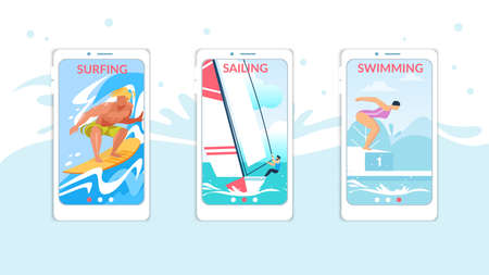 Surfing, Sailing, Swimming Mobile App Page Onboard Screen Set for Website, Summer Time Water Sport Activities, Healthy Lifestyle, Leisure, Summertime Sports Courses. Cartoon Flat Vector Illustration Ilustração