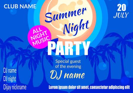 Summer Night Party Banner orizzontale, sagome di palme sotto la luce della luna piena sulla spiaggia, evento musicale in discoteca, poster pubblicitario di intrattenimento per club, volantino, cartellone piatto vettoriale