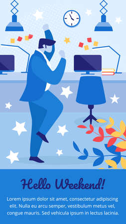 Hello Weekend Vertical Banner. Cheerful Businessman Laughing and Jumping with Hands Up at Office Workplace. Employee Rejoice for Day Off. Joyful Manager Celebrating Cartoon Flat Vector Illustration Foto de archivo - 129886879