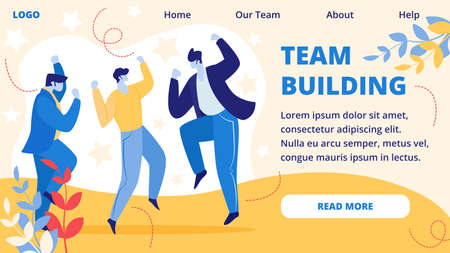 Team Building Horizontal Banner. Cheerful Business People Laughing and Jumping with Hands Up at Office during Office Event. Colleagues Employees Rejoice for New Project Cartoon Flat Vector Illustration
