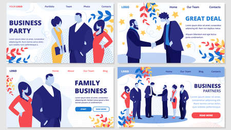 Family Business, Partners, Great Deal, Party Horizontal Banners Set with Business People Meeting on Corporate Event or Party Greeting Each Other, Communicating Relaxing Cartoon Flat Vector Illustration
