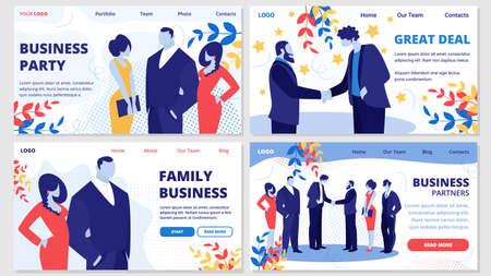 Negocio familiar, socios, gran oferta, banderines horizontales de fiesta con gente de negocios reunida en evento corporativo o fiesta saludándose, comunicándose ilustración vectorial plana de dibujos animados relajantes