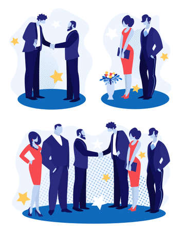 Business Men with Women Stand Face to Face Shaking Hands, Greeting Each Other on Party. Businessmen Team Leaders Meet after Successful Deal Signing on Corporate Event. Cartoon Flat Vector Illustration