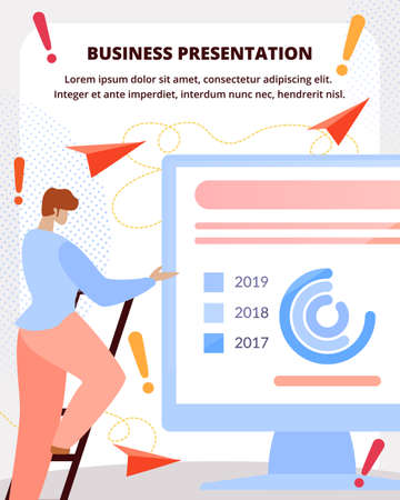 Modern Company Investment Project, Growing Report, Business Strategy Presentation Flat Vector Vertical Banner, Poster. Man Climbing on Ladder, Pointing on Company Financial Indicators Illustration