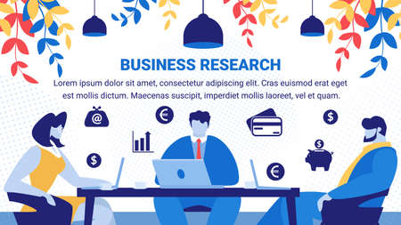 Business Research Horizontal Banner. Office Work Startup Development. Creative Team Working on Start Up Technology Discussing on Creating New Project Sitting at Desk. Cartoon Flat Vector Illustration Illustration