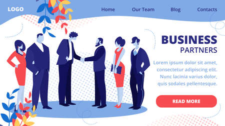 Business Meeting of Partners Stand Face to Face Shaking Hands, Agreement Communicating. Businessmen Team Leaders Meet for Successful Deal Signing Cartoon Flat Vector Illustration, Horizontal Banner 일러스트