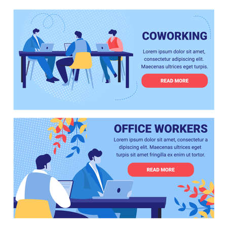 Set of Horizontal Banner with Coworking People and Office Workers. Design Team, Group of Creative Men and Women Sitting at Office Desk. Freelancers and Job Employees Cartoon Flat Vector Illustration