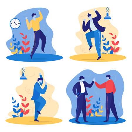 Set of Joyful Happy Managers in Office. Cheerful Business People Laughing, Jumping, Shaking Hands. Employees Rejoice for New Project. Colleagues Celebrate Victory Deal. Cartoon Flat Vector Illustration