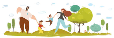Happy Craft Family on Nature Flat Cartoon Portrait. Father and Mother Play with Kids on Nature. Parents and Children Have Fun in Forest or Garden. People in Traditional Clothes. Vector Illustration