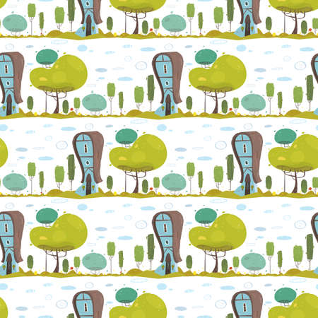 Rustic House in Countryside Craft Seamless Pattern in Flat Style. Repeated Design with Eco Friendly Farmer Home. Traditional Suburb Building in Garden or Forest Wallpaper Vector illustration