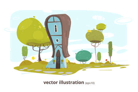 Country House with Window and Door. Rural Home in Countryside. Brick Dwelling or Building from Traditional Lumber among Green Garden. Eco Friendly Flat Landscape. Vector EPS10 Illustration