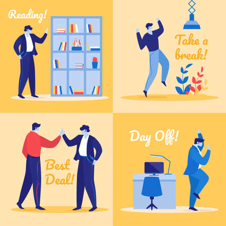 Set of Joyful Managers in Office. Cheerful Business People Reading Book, Take a Break, Shaking Hands for Best Deal. Rejoice to Day Off. Happy Colleagues Employees. Cartoon Flat Vector Illustration