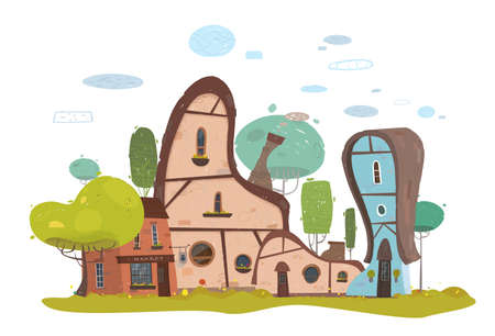 Cartoon Modern Traditional Old-Fashioned Stone Farm House and Brick Market Exterior Buildings in Suburb. Residential Townhouse for Craft Families. Flat Countryside Rural Landscape. Vector Illustration