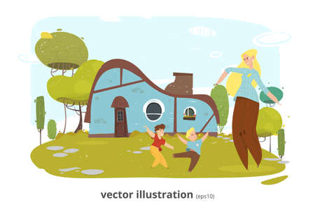 Happy Smiling Mother Rest with Children in Yard Cartoon. Cozy Vintage Retro Brick Farm House. Craft Family. Illustration