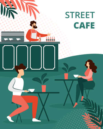 People Relax in Street Summer Cafe Outdoors Drinking Tea, Bartender Holding Bottle on Counter Desk, Characters Relaxing Open Air Restaurant Vacation. Cartoon Flat Vector Illustration, Vertical Banner