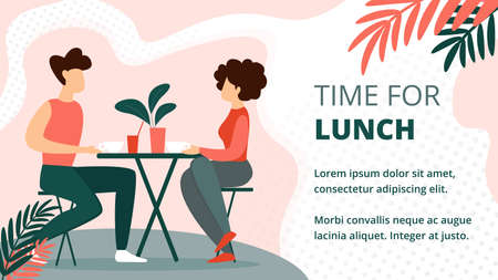 Time for Lunch Horizontal Banner. Couple Sitting at Table, Talking, Dating. Man Woman Characters Conversation, Relaxing Open Air Modern City Cafe, Summer Time Leisure. Cartoon Flat Vector Illustration