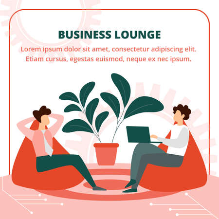 Relaxed Business People Characters Sitting in Cozy Armchairs in Lounge Room Discussing and Communicating about Working Project Development, Leisure Cartoon Flat Vector Illustration, Square Banner