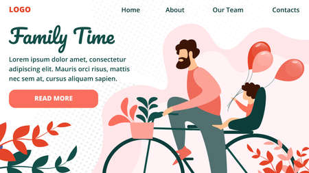 Family Time Horizontal Banner, Happy Father Riding Bicycle with Little Child Sitting on Trunk. Active Holidays in Park. Dad, Child Healthy Lifestyle Fun Sport Activity Cartoon Flat Vector Illustration  イラスト・ベクター素材