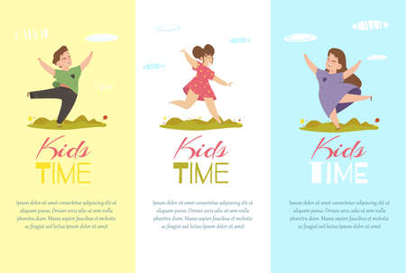 Kids Time Vertical Banners Set. Creative Templates for Invitation Flyers. Happy Children Boy and Girls Rejoice and Happily Dancing. Summertime Vacation or Party Events Cartoon Flat Vector Illustration Foto de archivo - 129888291