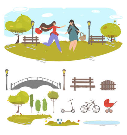Couple Girl Friends Walking in City Park at Summer Time Creative Set with Cut Out Design Element for Creation Composition. Bridge, Plants, Water, Bench Cartoon Flat Vector Illustration, Clip Art Illustration