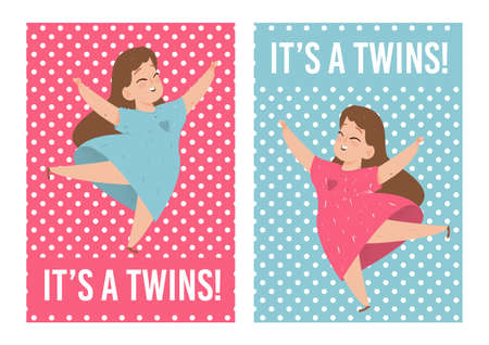 Its Twins Baby Showers Cards Set with Cute Girls Wearing Colorful Dresses Dancing on Pink and Blue Background with Polka Dots Pattern. Creative Invitation Design Cartoon Flat Vector Illustration