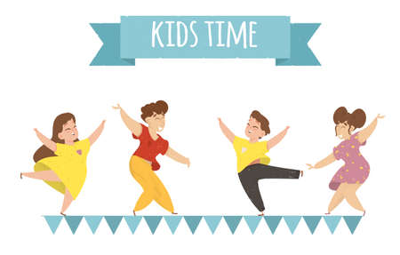 Kids Time Horizontal Banner. Happy Children Rejoice. Cute Funny Babies Boys and Girls in Colorful Clothes Dancing on Flags Garland with Hands Up on Summertime Vacation Cartoon Flat Vector Illustration