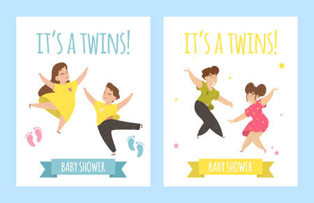 Its a Twins, Baby Shower Card Set. Invitation Template with Hand Lettering and Cute Children Boy and Girl Happily Dancing. Foot Prints and Ribbon with Typography. Cartoon Flat Vector Illustration