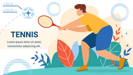Man Tennis Player Holding Racket Wait Ball from Opponent Side. Sportsman Training, Preparing for Competition Summer Sports Activity Flyer, Poster Cartoon Flat Vector Illustration, Horizontal Banner