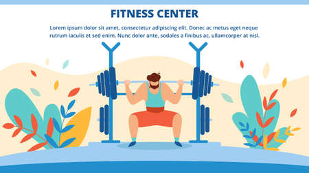 Fitness Center Horizontal Banner with Man Raise Barbell. Invitation Flyer Outdoor Sports Activity for Physically Strong People. Poster Strength and Endurance Training Cartoon Flat Vector Illustration 일러스트