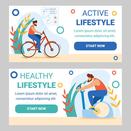 Man Training in Gym on Exercise Bicycle and Riding Real Bike Outdoors. Sports Healthy Active Lifestyle Workout, Cardio Exercising Biking Sport Cartoon Flat Vector Illustration, Horizontal Banners Set