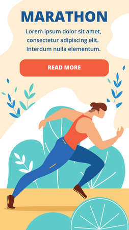 Marathon Vertical Banner. Young Man in Sportswear Steadfastly Run Distance Race. Activity Result in Final Athlete Running at Competition. Sport Flyer Poster Invitation Cartoon Flat Vector Illustration Foto de archivo - 129888310