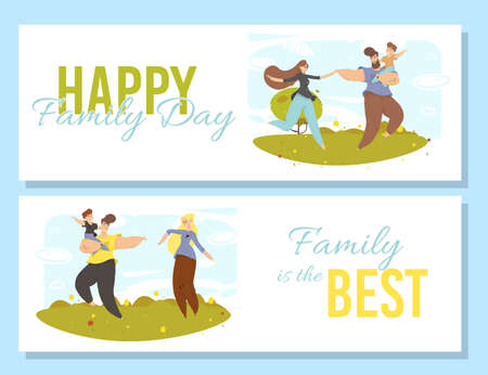 Happy Family Day Banners Set. Joyful Mother, Father and Son Walking at Park. Parents and Kids Spend Time Together. Recreational Outdoor Activity, Summer Holidays. Cartoon Flat Vector Illustration