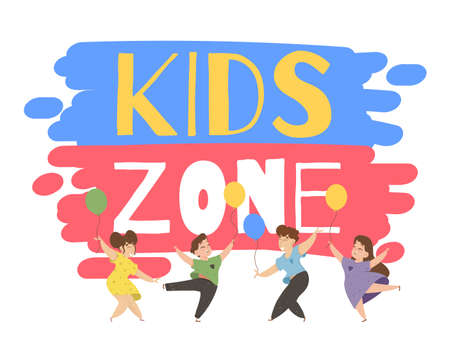 Children Playing on Playground Dancing and Jumping with Colorful Balloons in Kids Zone Place for Games. Amusement Park Advertising Creative Typography and Characters Cartoon Flat Vector Illustration
