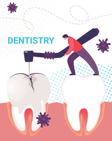 Dentistry Vertical Banner. Dentist Man Working on Stomatology Disease Treating Tooth Decay Drilling Bad Plaque with Caries Hole. Professional Clinic Treatment Service Cartoon Flat Vector Illustration