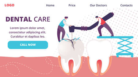 Dental Care Horizontal Banner. Little People Drilling Huge Unhealthy Tooth with Caries Hole. Teeth Treating. Dentists People Working Together on Stomatology Disease. Cartoon Flat Vector Illustration