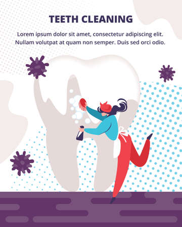 Professional Dental Care and Teeth Cleaning Service. Woman Wearing Housekeeper Costume Holding Brush Washing Huge Dirty Tooth. Health Care Dentistry. Cartoon Flat Vector Illustration, Vertical Banner Foto de archivo - 129888246