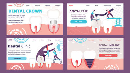 Horizontal Banners Set of Teeth Problems. Visualization of Different Ways Orthodontic Restoration as Implant, Crown. Deletion and Drilling Diseased Tooth in Human Gum. Cartoon Flat Vector Illustration Illustration