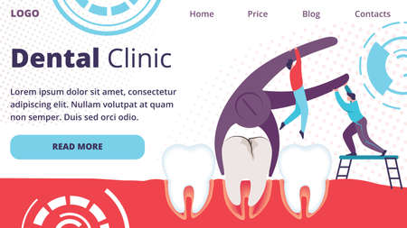 Unhealthy Tooth Removal Process in Dental Clinic. Men Extracting Dent with Caries Hole Using Pliers. Tiny Dentists Characters Working Together. Cartoon Flat Vector Illustration, Horizontal Banner