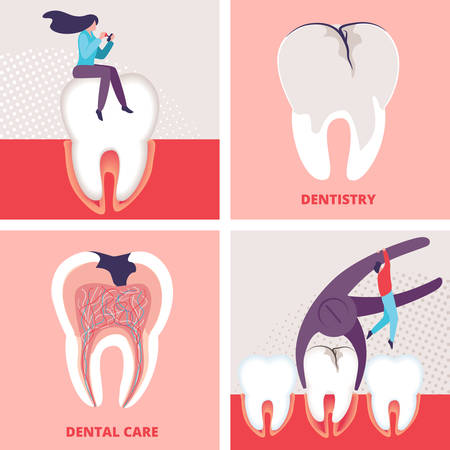 Dentistry and Dental Care Banners Set. Stomatology Clinic Office Aid Posters. Cavity and Caries Treatment Service, Health Care Preventive Measures, Tooth Deletion. Cartoon Flat Vector Illustration