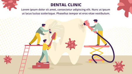 Dentists Cleaning, Brushing, Treating Big Unhealthy Tooth Plaque and Caries Hole. Doctors Work Together in Dental Clinic. Stomatology, Dentistry Cartoon Flat Vector Illustration, Horizontal Banner  イラスト・ベクター素材