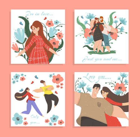 Set Love Banners or Greeting Cards. Happy Loving Couple Man and Woman Enjoying Romantic Relations Walking and Hugging among Colorful Flowers. Valentine Day Posters, Cartoon Flat Vector Illustration