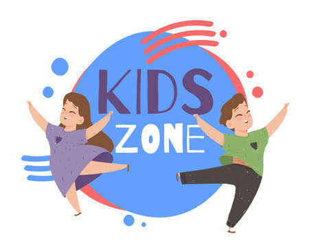 Kids Zone Creative Poster with Happy Children and Colorful Typography with Geometric Design Elements. Playground Advertising Signboard, Area for Baby Games Activity. Cartoon Flat Vector Illustration