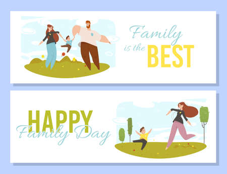 Happy People with Kids Outdoors Activity. Best Family of Parents and Children Spending Time Together in Summer City Park. Mother, Father and Son Fun Cartoon Flat Vector Illustration, Horizontal Banner